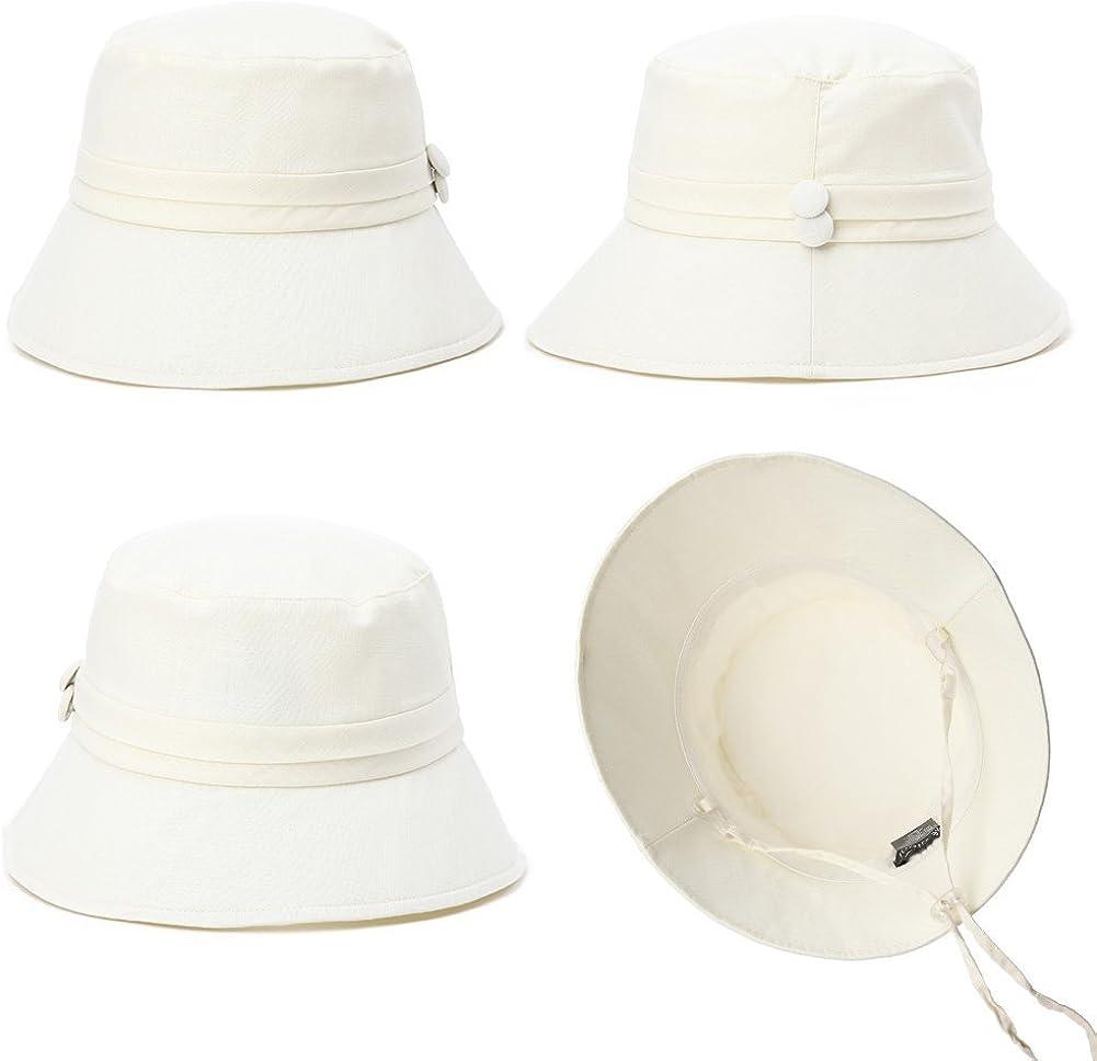 Comhats Ladies Bucket Summer Sun Hat Foldable Beach Cap Wide Brim UPF50 Packable for Women