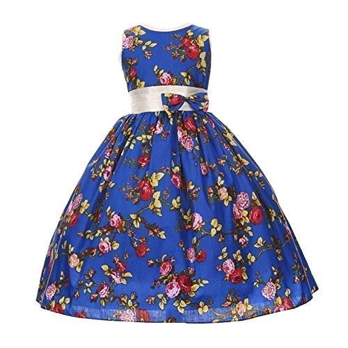 Shanil Inc. Big Girls Royal Blue Red Rose Print Bow Attached Junior Bridesmaid Dress 8 from Shanil Inc.