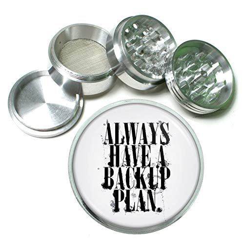 Backup Plan Em1 Silver Chrome 63mm Aluminum Magnetic Metal Herb Grinder 4 Piece Hand Muller Spices & Herb Heavy Duty 2.5