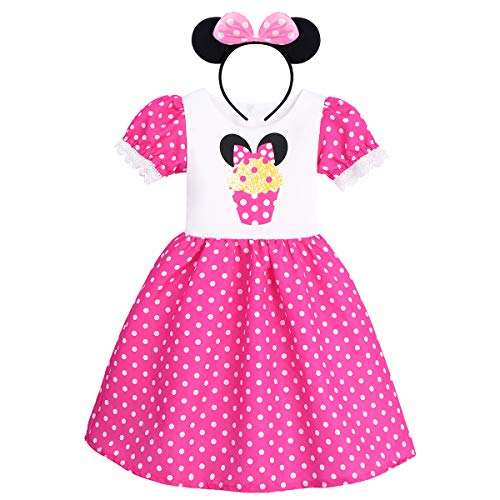 Kids Girls Polka Dots Princess Dress Cake Print Cosplay Fancy Minnie Costume Birthday Party Outfits Halloween Bowknot Leotard Ballet Dance Tutu Gown Dress up+ Mouse Ears Headband Cake Pink 18-24 M