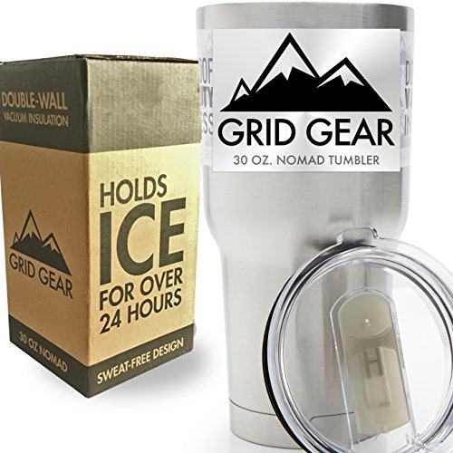 30 ounce Tumbler, Double Wall Vacuum Insulated Stainless Steel, Grid Gear Nomad