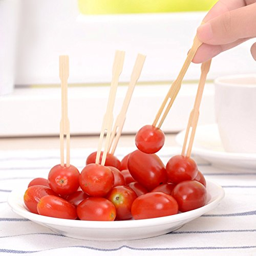 Barbecue & Picnic Supplies - 100pcs Bamboo Fruit Vegetable Food Forks Bbq Buffet Wedding Party Stick - Appetizer Forks Picks Cocktail Fondue Oyster Bamboo Cheese Wooden Mini Recycled Fruit