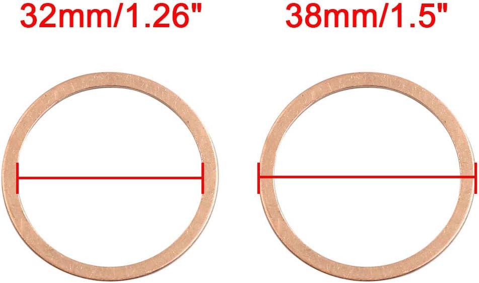 sourcing map Unterlegscheiben 15 stk.Flach Dichtung O From Ring 32mm Innendur Kupfer