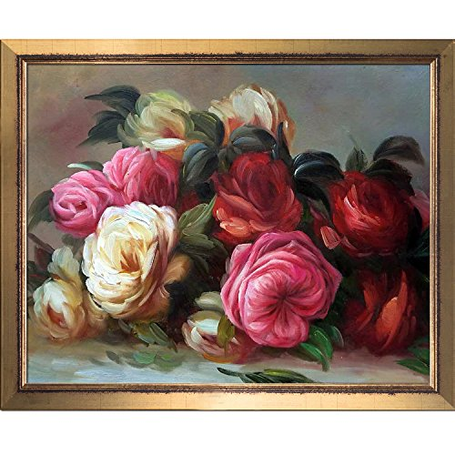 overstockArt La Pastiche Discarded Roses by Renoir Painting with Burnished Gold Frame II, Medium