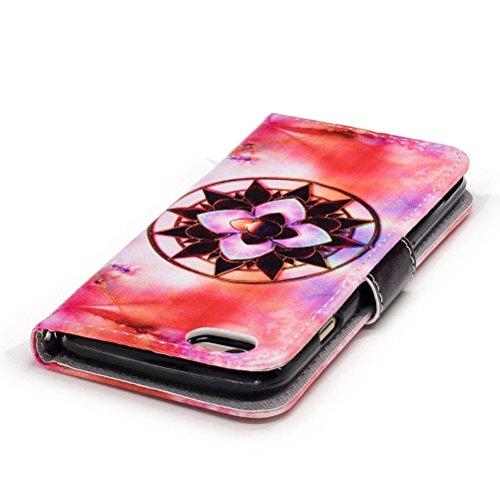 Funda iPhone 6/6S 4.7 pulgadas,SainCat Funda de cuero sintético tipo billetera con correa de cordón de Suave PU Carcasa Con Tapa y Cartera,Ranuras para Tarjetas y Billetera Funda de Flip Ranuras Tarje Mandala