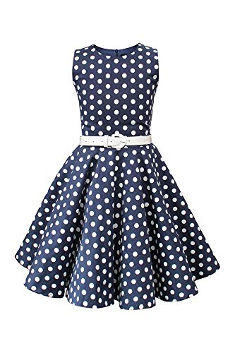 BlackButterfly Kids 'Audrey' Vintage Polka Dot 50's Girls Dress (Midnight Blue, 3-4 YRS)