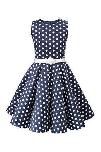 BlackButterfly Kids 'Audrey' Vintage Polka Dot 50's Girls Dress (Midnight Blue, 3-4 YRS)]()