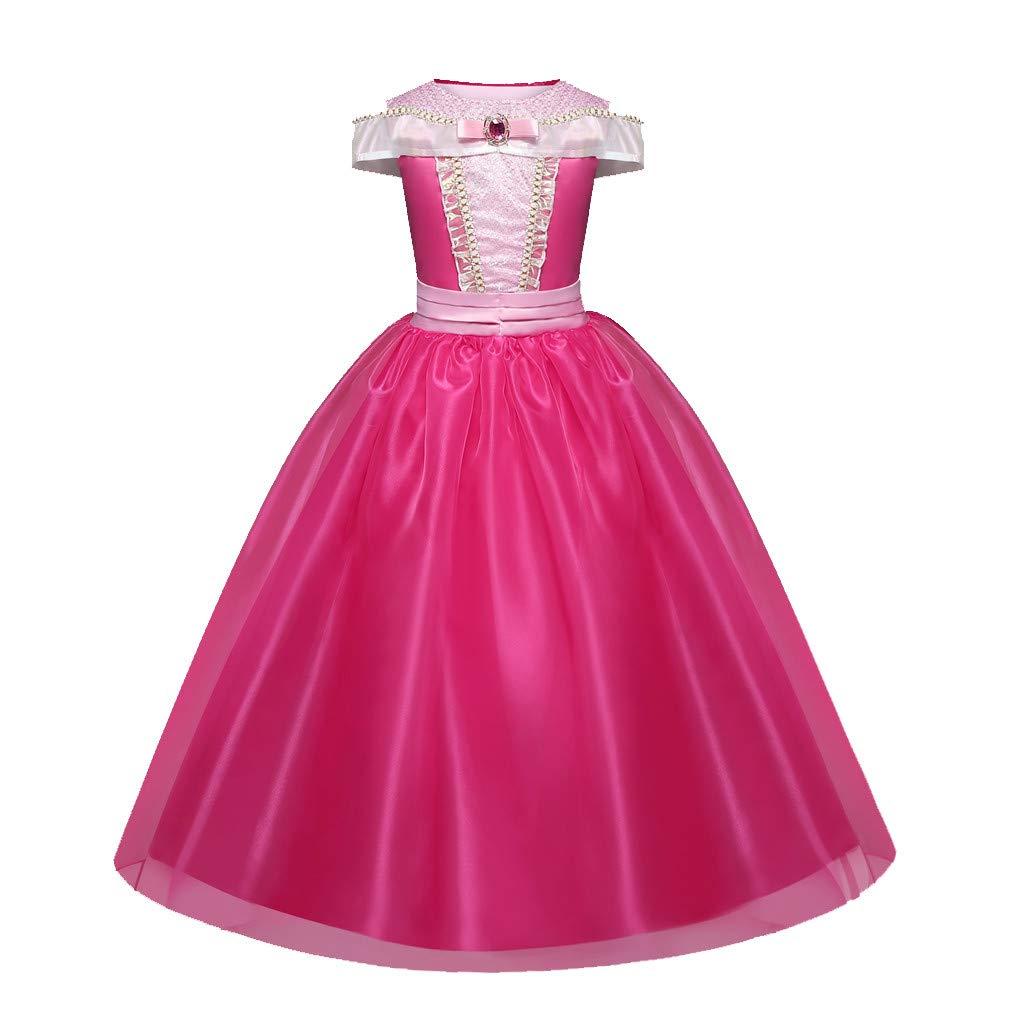 K-Youth Vestidos de Fiesta de Disfraz Vestido de Princesa Aurora Ni/ña Vestido de Muchachas Carnival hasta Traje de Bella Durmiente para Ni/ña para Halloween 2 a 7 a/ños