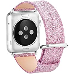 Bekia Single Tour Leather Band Watchband For Apple Watch iWatch Series 1/2 42MM (Hot Pink)