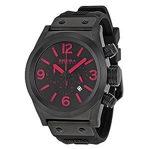 Brera Orologi Eterno Chronograph Black Dial Black Silicone Rubber Mens Watch BRETC4593
