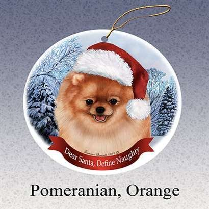 Pomeranian Christmas Ornament (Holiday Pet Gifts Pomeranian, Orange Santa Hat Dog Porcelain Christmas Tree Ornament)