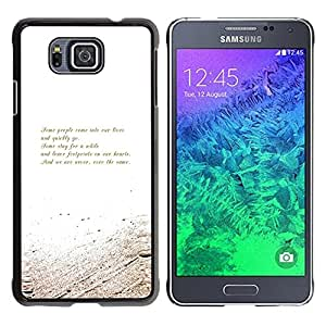Smartphone Rígido Protección única Imagen Carcasa Funda Tapa Skin Case Para Samsung GALAXY ALPHA G850 Poem Motivational Message White Gold / STRONG