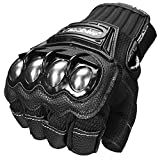 Automotive : ILM Alloy Steel Fingerless Bicycle Motorcycle Motorbike Powersports Racing Gloves (XL, HF-BLACK)