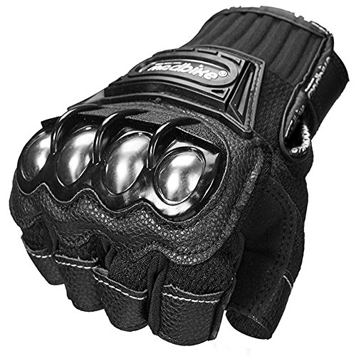 ILM Alloy Steel Fingerless Bicycle Motorcycle Motorbike Powersports Racing Gloves (L, HF-BLACK)