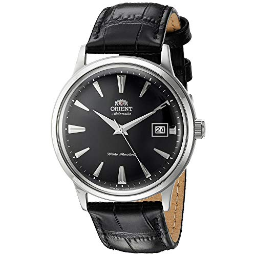 Orient Men's 2nd Gen. Bambino Ver. 1 Stainless Steel Japanese-Automatic Watch with Leather Strap, Black, 21 (Model: FAC00004B0) (21 Leather Watch Strap)