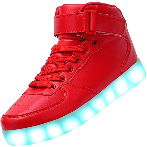 Led Bambini Sneakers Alta Adulto Lampeggiante Moda Luminosi bambino Ricarica Usb Unisex Scarpe Sportivet Rosso Per Top rrnv8TU