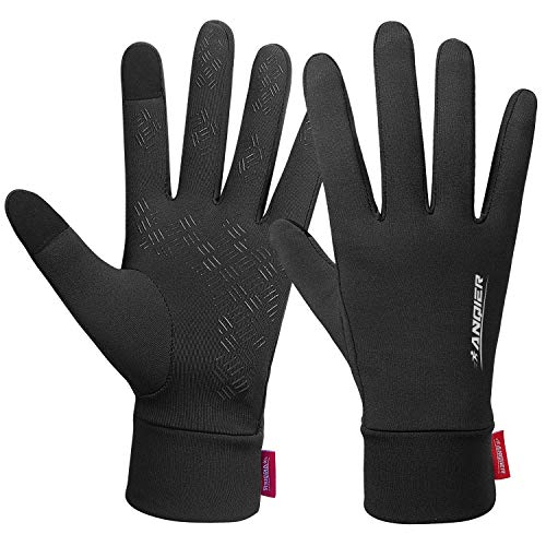 Lanyi Running Gloves Lightweight Cycling Sports Work Black Gloves Men Women Windproof Anti-Slip Touchscreen Compression Liner Gloves(L)