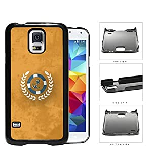 Teal Anchor Nautical Wheel on Orange Grunge Background Samsung Galaxy S5 SM-G900 Hard Snap on Plastic Cell Phone Case Cover