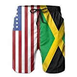 X-Large USA Fiag Jamaican Flag Mens Summer Novelty Beach Board Shorts Breathable Surf Swim Trunks