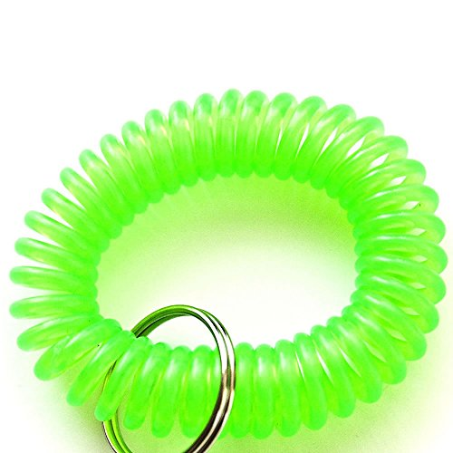 Generic Plastic Wrist Coil Wrist Band Key Ring Chain for Outdoor Sport Green 6Pcs