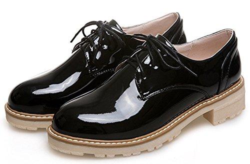 Idifu Kvinna Mode Låg Topp Snörning Oxfords Skor Chunky Låga Klackar Svart