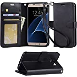 Galaxy S7 Edge case, Arae [Wrist Strap] Flip Folio [Kickstand Feature] PU Leather Wallet case with ID&Credit Card Pockets for Samsung Galaxy S7 Edge - Black