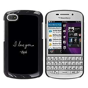 Be Good Phone Accessory // Dura Cáscara cubierta Protectora Caso Carcasa Funda de Protección para BlackBerry Q10 // BIBLE I Love You - God