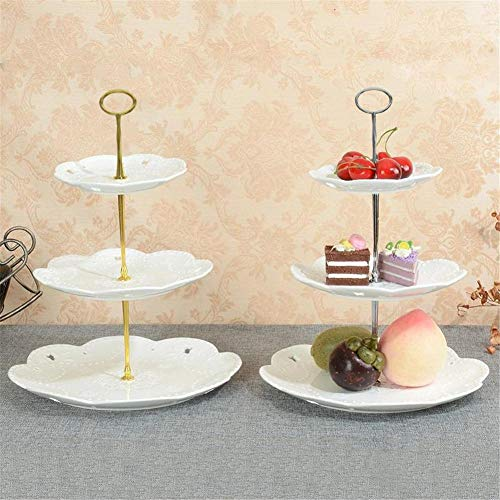 Fruit Plate Set, Multi-Tier Cake Plate Fruit Tray Stand Holder Platter 2 Pack, Desserts Fruit Basket Stand Candy Buffet Stand Gold/Silver for Decoration Birthday Festive Party, European Style (Silver Basket Cake)