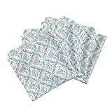 Roostery Baby Shower Organic Sateen Dinner Napkins Fertility Damask, Orange and Teal, Small by Chantal Pare Set of 4 Cotton Dinner Napkins Made