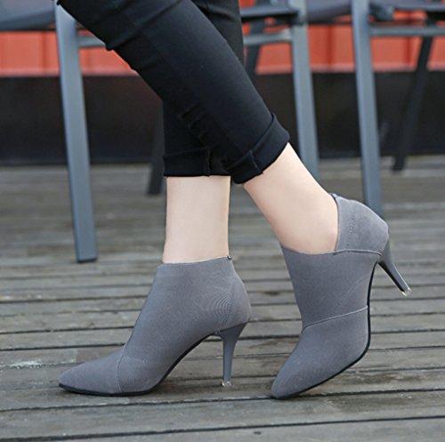 Außenhandel die wiesen große Vereinigten grau Schuhe Stiefel Heels kurze Staaten Nude High Damenschuhe XZ Europe und gqnnEP