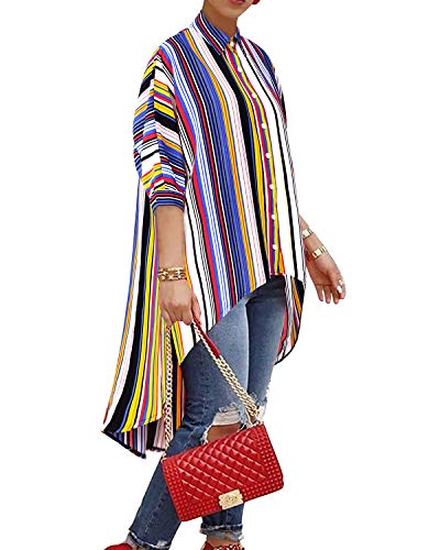 BIUBIU Loose Blouses Tops, Women's V Neck Button Down Batwing Sleeve High Low Hem Casual Striped Floral T-Shirts Multi Color Stripe L