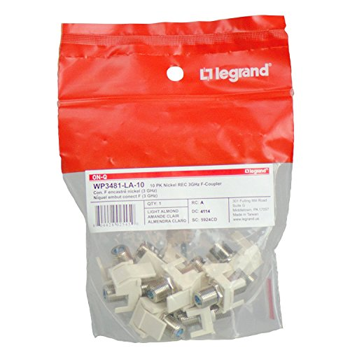 Legrand - On-Q WP3481LA10 Contractor Nickel Recessed 3 GHz Keystone F-Connector (Pack of 10), Light Almond Almond F Connectors