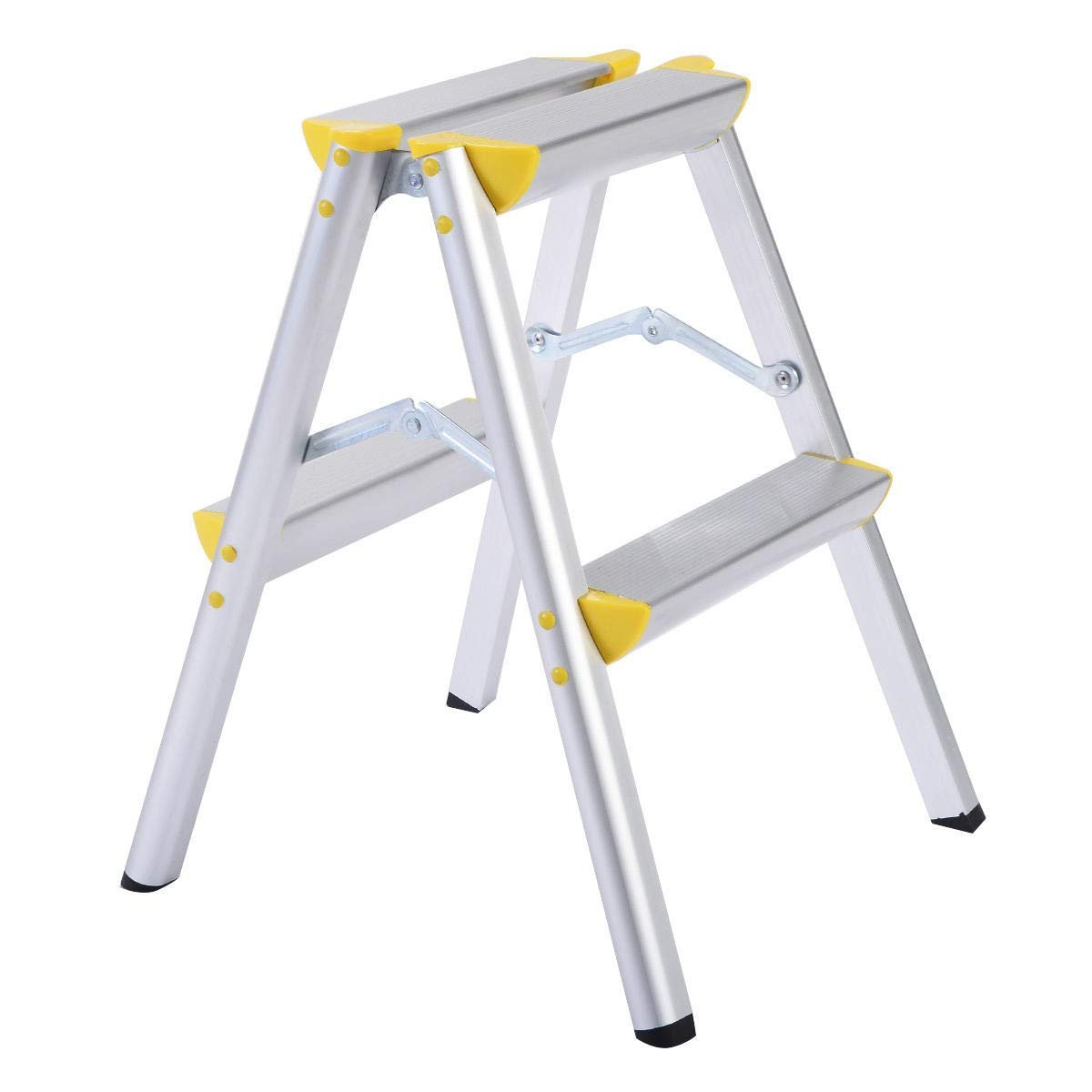 MRT SUPPLY 2 Step Aluminum Ladder Folding Platform Work Stool 330 lbs Load Capacity with Ebook