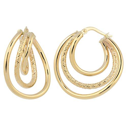 14k Yellow Gold High Polish and Diamond-cut Graduated Hoop Earrings