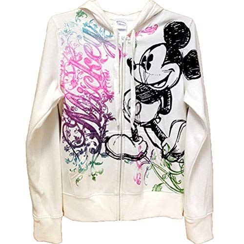 Disney Junior Women Ornate Mickey Mouse Zip Up Hoodie, Off White (Small)]()