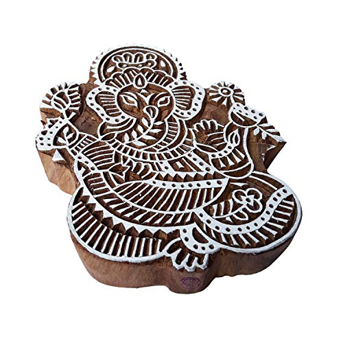 Attractive Wood Block Large Ganesha Shape Big Printing -