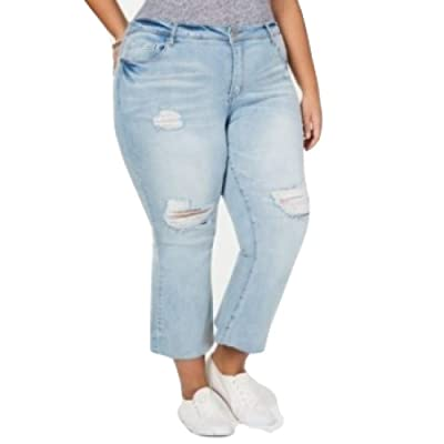 Dollhouse Juniors' Plus Size Distressed Cropped Flare-Leg Jeans Blue Size 18: Clothing