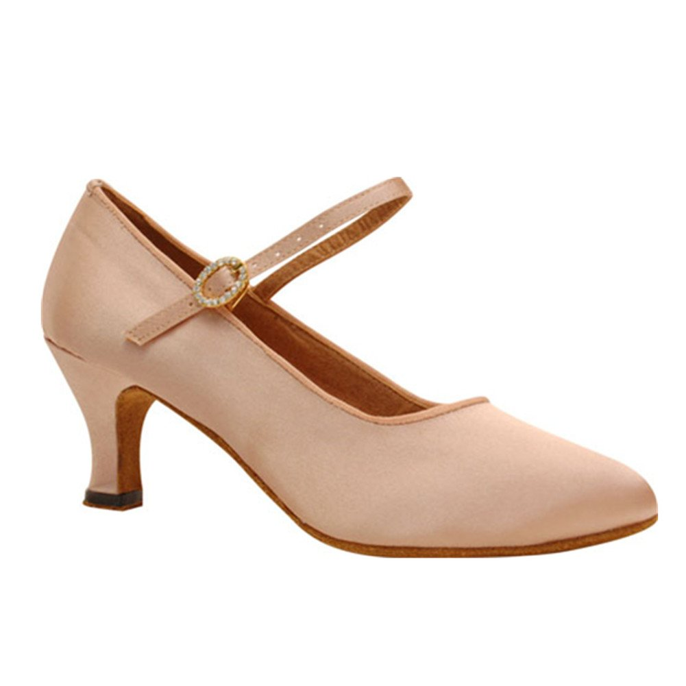 GUOSHIJITUAN Womens Pointy Toe Latin Dance Shoes,Soft Bottom Satin Dancing Shoes High Heels Tango Salsa Social Dancing Shoes