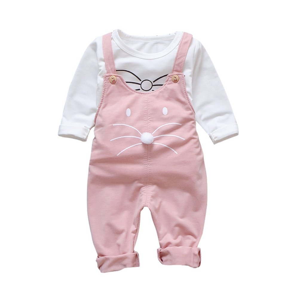 Baby Girl Dungarees Bib Overall Pant and Long Sleeve Shirt 2 Pieces Autumn Spring Outfit