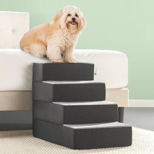 Zinus Easy Pet Stairs/Pet Ramp/Pet Ladder, Large, Grey