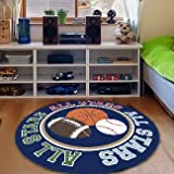 FADFAY Home Textile,Unique Basketball Round Rug,Modern Rugby Kids Washable Mats,Designer All Stars Children's Rugs