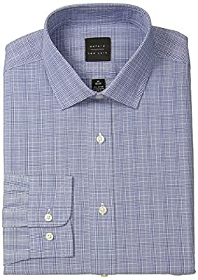 Oxford NY Men's Glen Plaid-Spread Collar