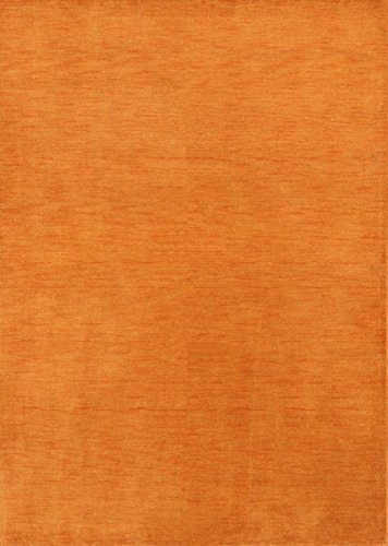 Rug Source New Gabbeh Contemporary Solid Hand-Knotted 6x8 Orange Wool Oriental Area Rug (7' 9