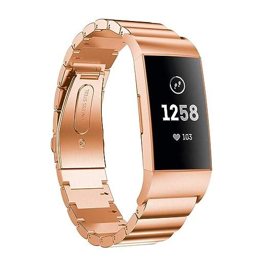 Correas de Reloj Correa de Pulsera para Fitbit Charge 3 Acero Inoxidable Moda Correa de Muñeca Repuesto Holatee: Amazon.es: Relojes