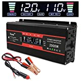 Yinleader 1000W/2000W(Peak) Car Power Inverter DC 12V to AC 110V Converter with Intelligent LCD Display Dual AC Outlets Dual USB Charger for RV Caravan Truck Laptop(Black)