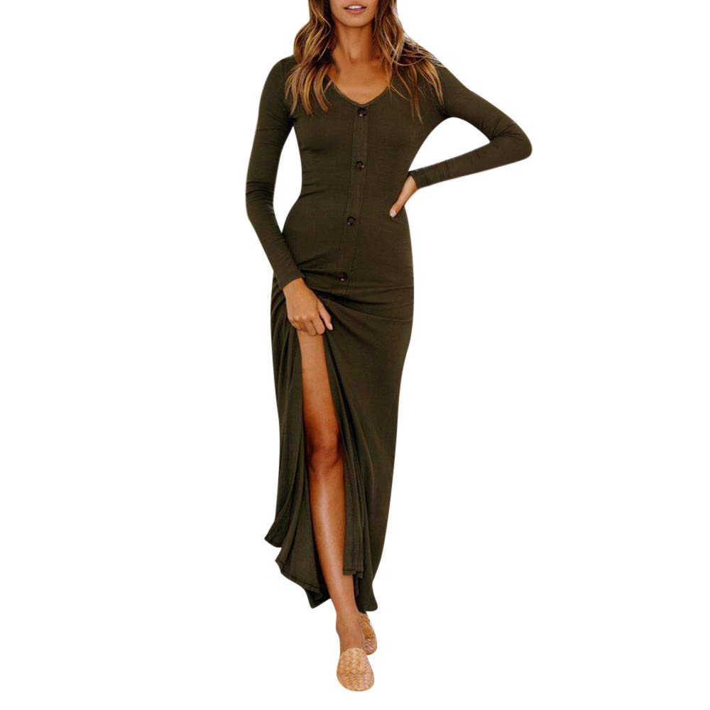 15bbba3d2 Amazon.com: Women Long Dress Daoroka Sexy Zipper V Neck Split Club Mesh  Sheath Evening Party Sundress Casual Ankle-Length Skirt (M, Army Green):  Beauty