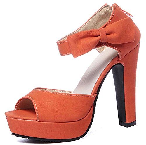Easemax Mujeres Peep Toe Plataforma Arco Con Cremallera Bombas Zapatos Sandalias De Tacón Grueso Naranja