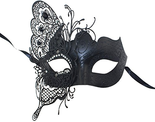 Black Butterfly Costumes (Mysterious Venetian Butterfly Shiny Butterfly Lady Masquerade Halloween Mardi Gras Party Mask)