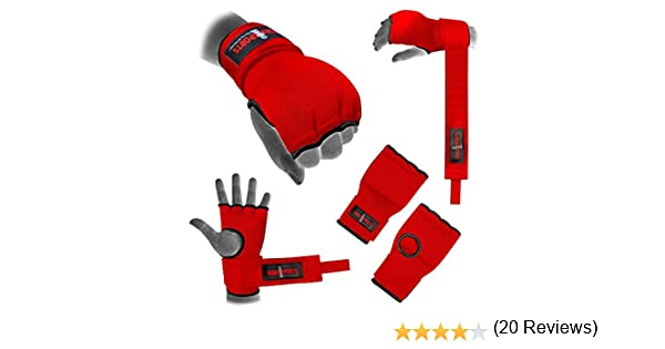 Azul Mano Wrap Negro /Vendaje Rojo acolchado Gel guante de boxeo MMA UFC adulto Quick Wraps/
