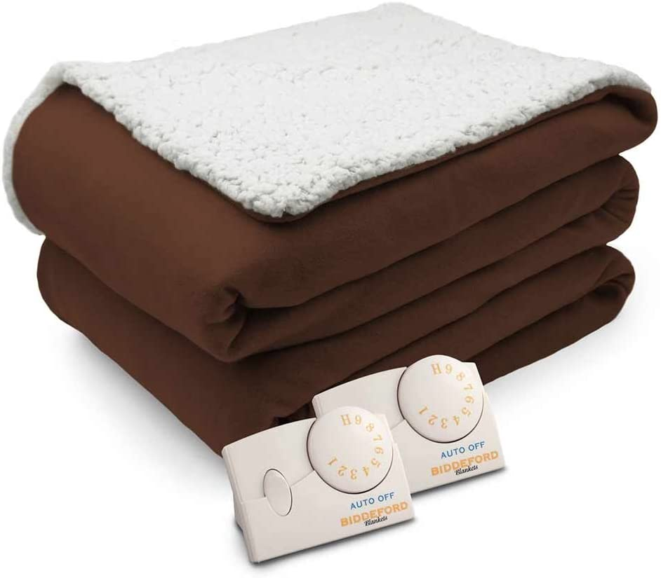 Biddeford Comfort Knit Natural Sherpa Electric Heated Blanket Queen Chocolate